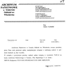Polish State Archives - initial response (click to enlarge)